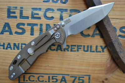 "Rick Hinderer Knives XM-18 - 3.5"" Stonewashed Spanto Blade - Bronze Anodized - G10 Handle"