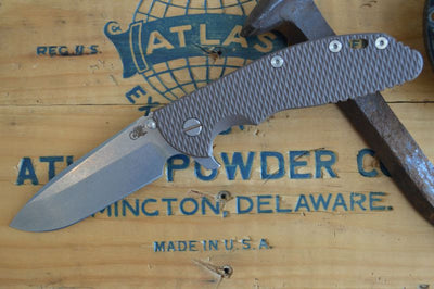 "Rick Hinderer Knives XM-24 - 4"" Spearpoint Blade - Stonewash Finish (FDE) - Northwest Knives"