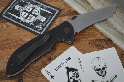 Emerson Knives Mini Commander w/ Wave - Stonewash Blade - MCOMSF