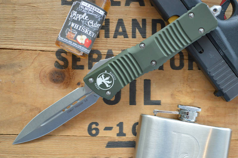 Microtech Combat Troodon OTF - Double Edge / Stonewash Blade - 142-10OD - Northwest Knives