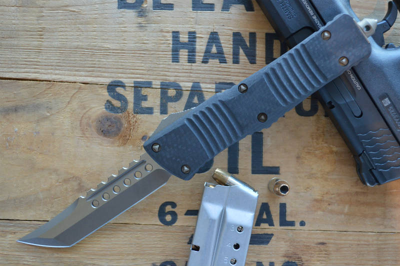 Microtech Combat Troodon OTF - Hellhound / Bronze Blade / CF Top- 219-13CF - Northwest Knives