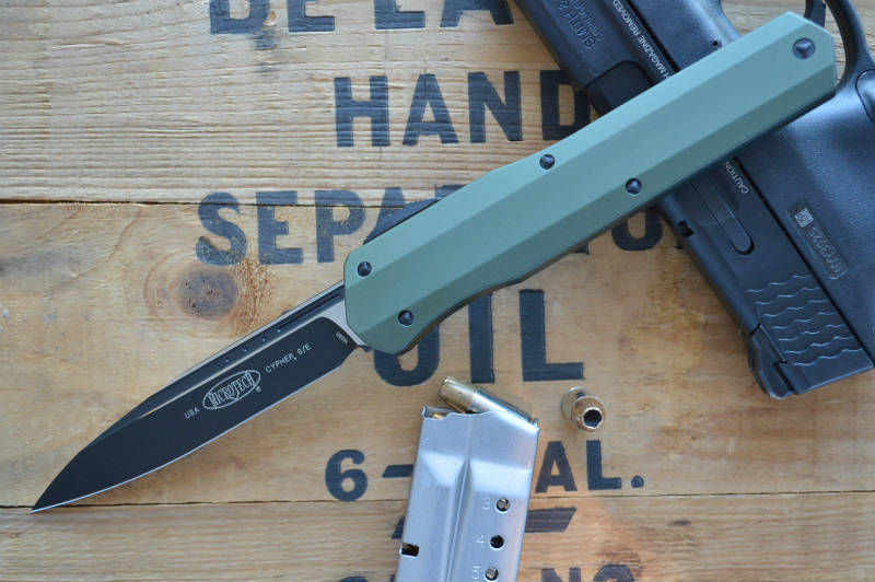 Microtech Cypher OTF - Single Edge / Black Blade / OD Green- 241S-1OD - Northwest Knives