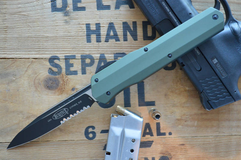 Microtech Cypher OTF - Single Edge PS / Black Blade / OD Green- 241S-2OD - Northwest Knives