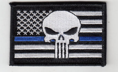 Punisher in USA Flag (B/W) Embroidered Patch Blue Line 3