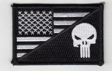 Punisher in USA Flag (B/W) Embroidered Patch 3