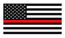 "4 PACK 2"" THIN RED LINE FLAG VINYL REFLECTIVE DECAL AMERICAN FLAG"