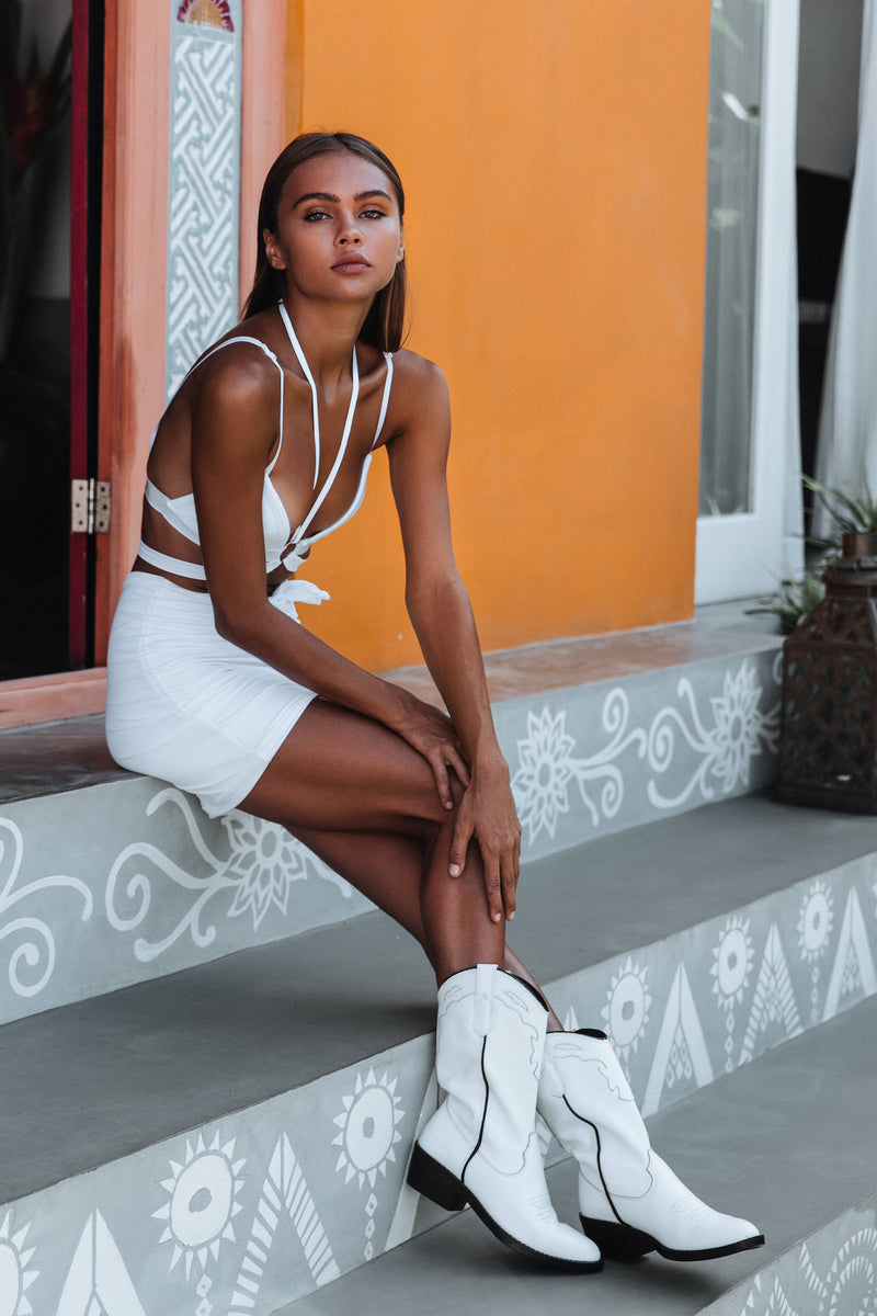 White Festival bralette and ruched skirt - Zalie Festival