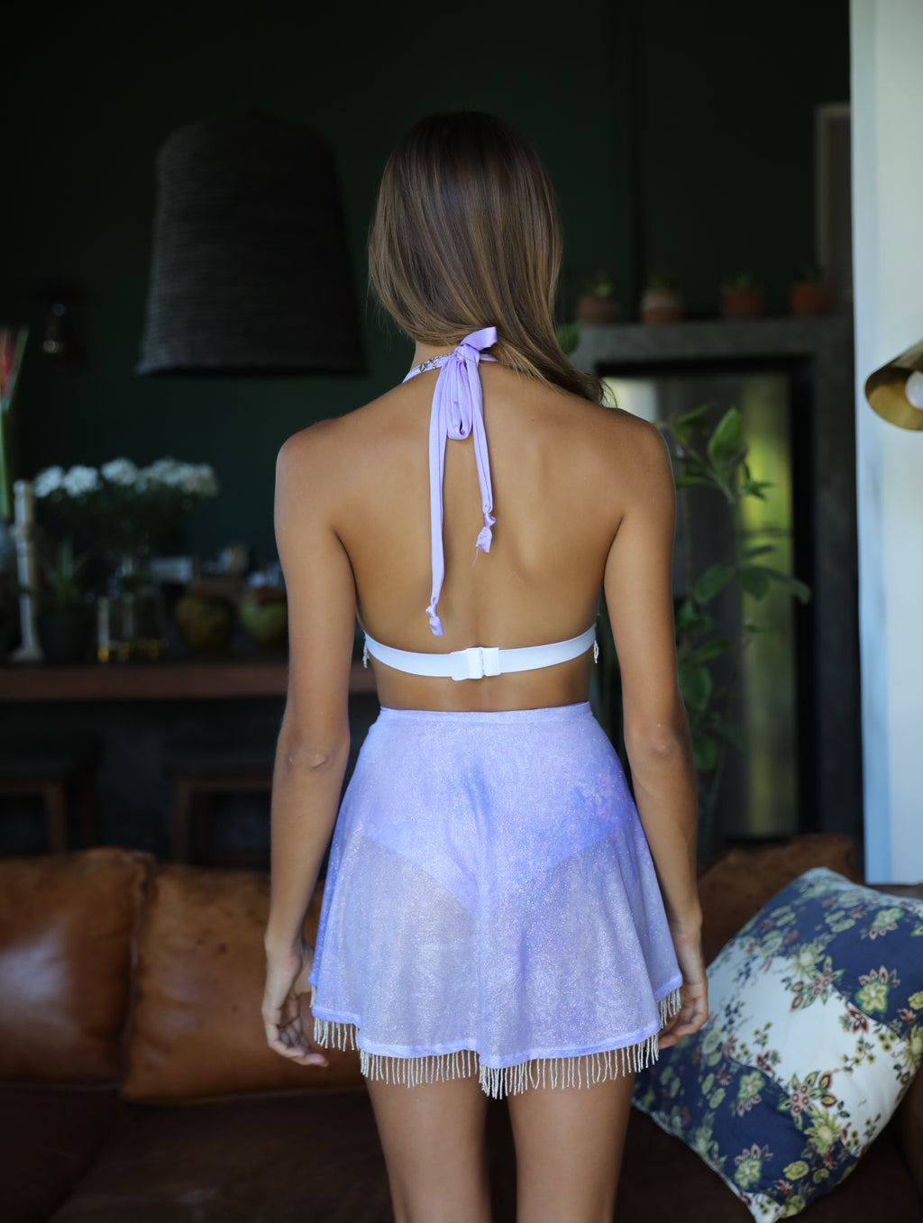 Lavender beaded wrap skirt and bralette - Zalie Festival