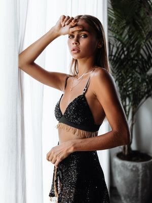 Black and gold beaded wrap skirt and bralette - Zalie Festival