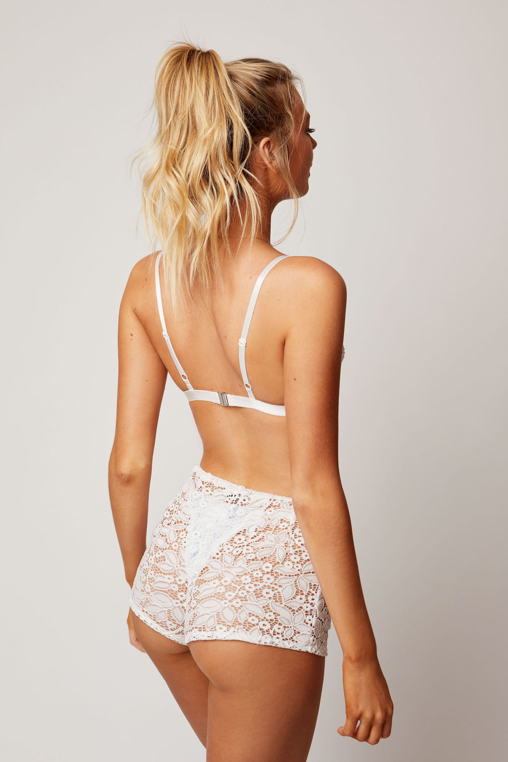 White lace shorts back