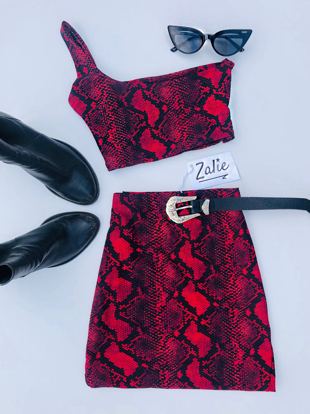 Red and Black snake print skirt and one shoulder top - Zalie Festival
