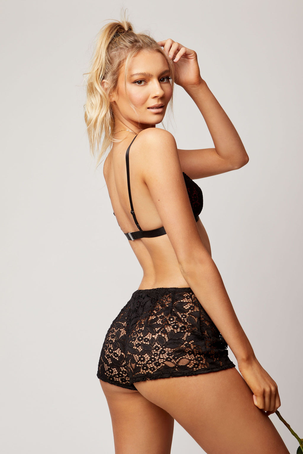 Black lace shorts back