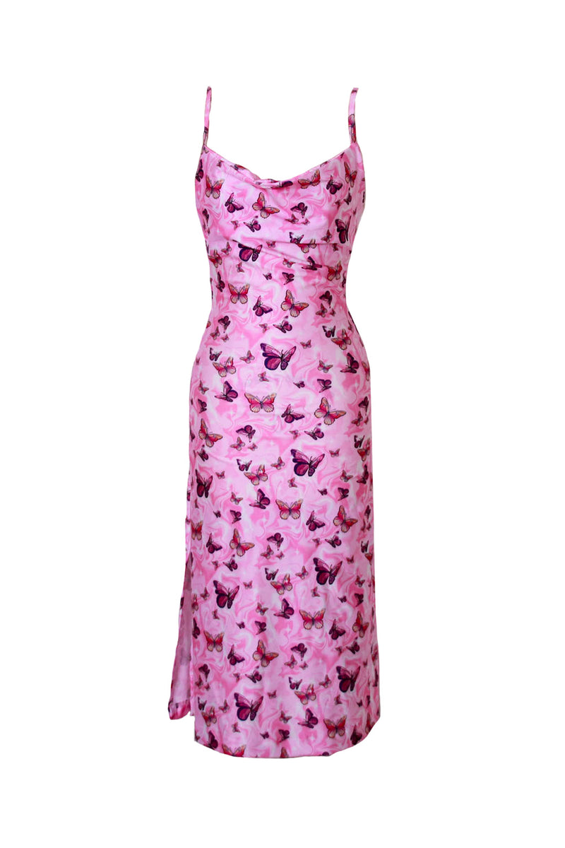 Pink Midi Dress Side split