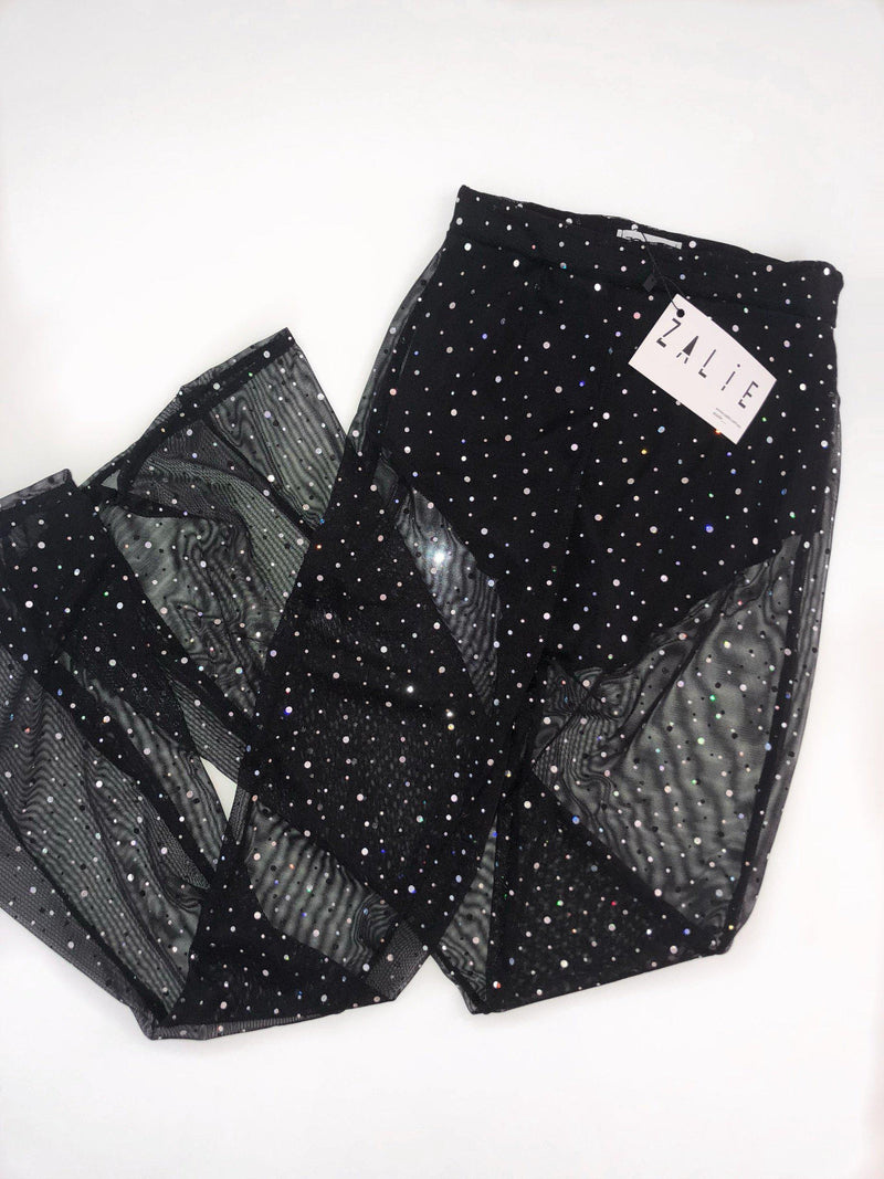 Black Sheer Glitter Flares - Zalie Festival Wear