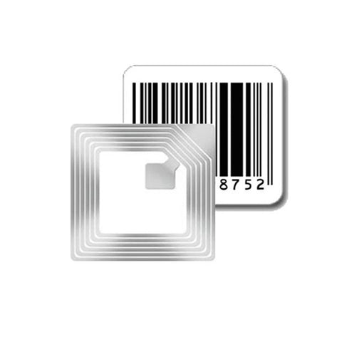40mm square Security Label used by retailers to protect merchandise from shoplifting and theft. has fake barcode on it and has circuit to generate 8.2MHz RF signal for EAS equipment