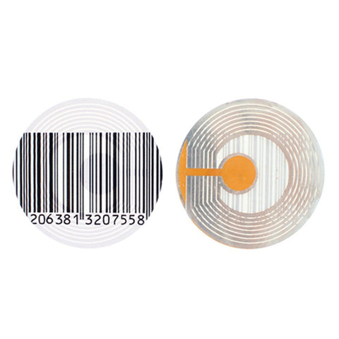 40mm round Security Label used by retailers to protect merchandise from shoplifting and theft. has fake barcode on it and has circuit to generate 8.2MHz RF signal for EAS equipment