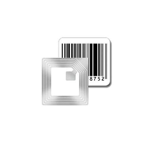 30mm square Security Label used by retailers to protect merchandise from shoplifting and theft. has fake barcode on it and has circuit to generate 8.2MHz RF signal for EAS equipment
