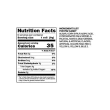 Nutritional Facts Panel for 6 PEZ Rolls