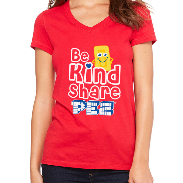 Be Kind Share PEZ Ladies V-Neck T-Shirt
