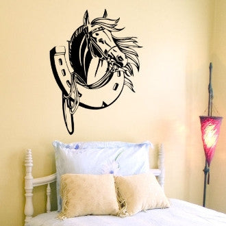 Horse with Horseshoe Vinyl Wall Decal Sticker