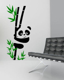 Panda on Bamboo Stick Vinyl Wall Decal Sticker