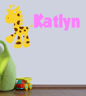 Giraffe with Personalized Name Nursery Room Vinyl Wall Decal