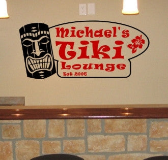 Tiki Lounge Personalized Wall Decal - 2 Color