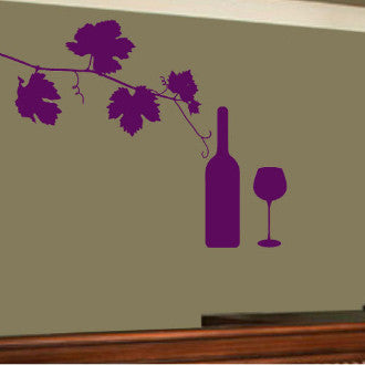 Grape Vine with Bottle and Glass Graphic Wall Decal