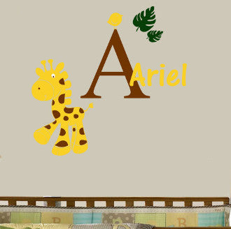 Giraffe & Birdie Monogram Personalized Wall Decal