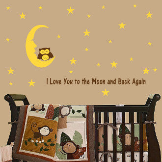 I Love You to the Moon and Back Again Wall Decal Sticker