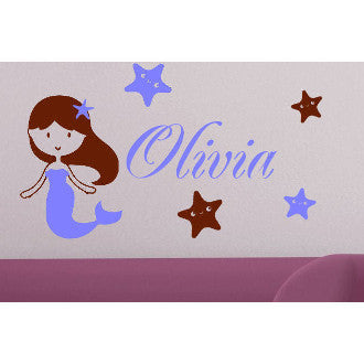 Mermaid & Star Fish Personalized Wall Decal 2 Colors
