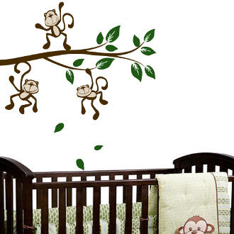 Monkey Around on a Branch Wall Decal Sticker