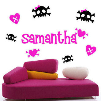 Girlie Skulls Personalized Wall Decal 2 Colors 48 Piece Set