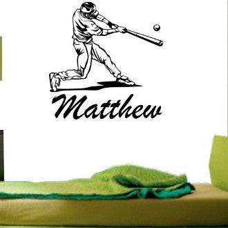 Baseball Batter with Personalized Name Wall Decal Sticker