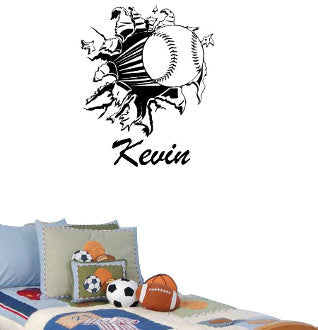 Baseball Rip with Personalized Name Wall Decal Sticker