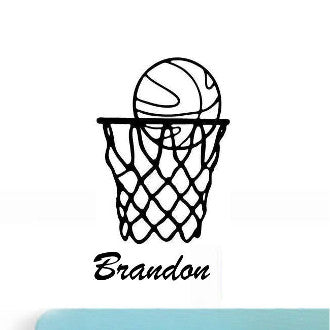 Basketball Net with Personalized Name Wall Decal Sticker