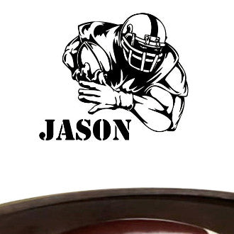 Football Player 02 with Personalized Name Wall Decal Sticker