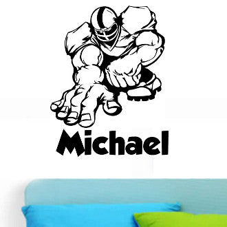 Football Player 04 with Personalized Name Wall Decal Sticker