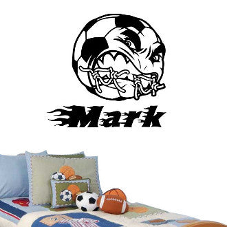 Angry Soccer Ball with Personalized Name Wall Decal Sticker