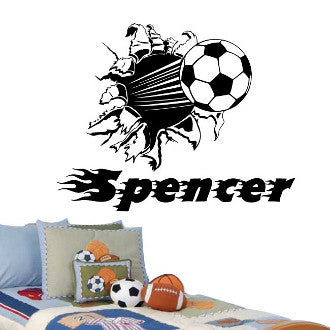 Soccer Ball Rip with Personalized Name Wall Decal Sticker