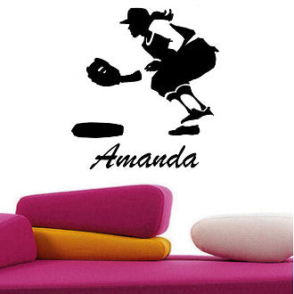 Girl's Softball Player with Personalized Name Wall Decal Sticker