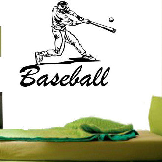 Baseball Batter with Baseball Lettering Name Wall Decal Sticker