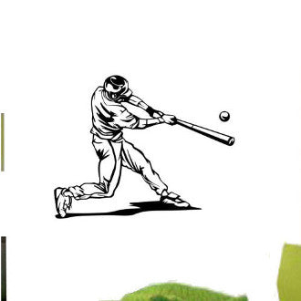 Baseball Batter Graphic Wall Decal Sticker