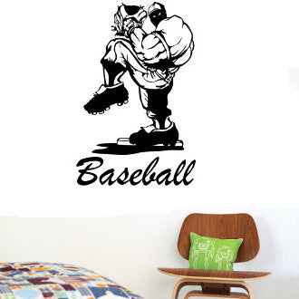 Baseball Pitcher with Baseball Lettering Wall Decal Sticker