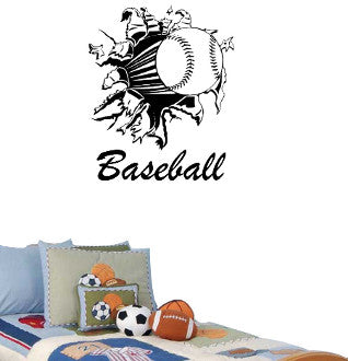 Baseball Rip with Baseball Lettering Wall Decal Sticker