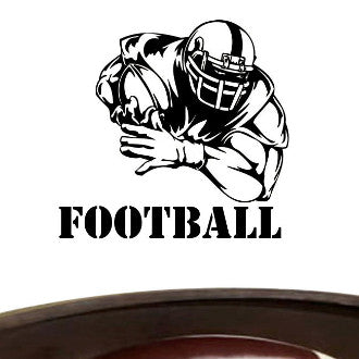 Football Player 02 with Football Text Wall Decal Sticker