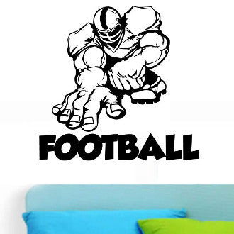 Football Player 04 with Football Text Wall Decal Sticker