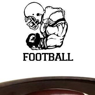 Football Player 05 with Football Text Wall Decal Sticker