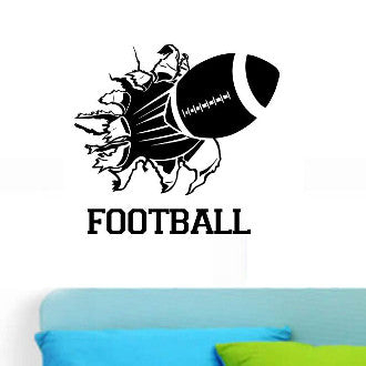 Football Rip with Football Text Wall Decal Sticker