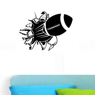 Football Rip Wall Decal Sticker